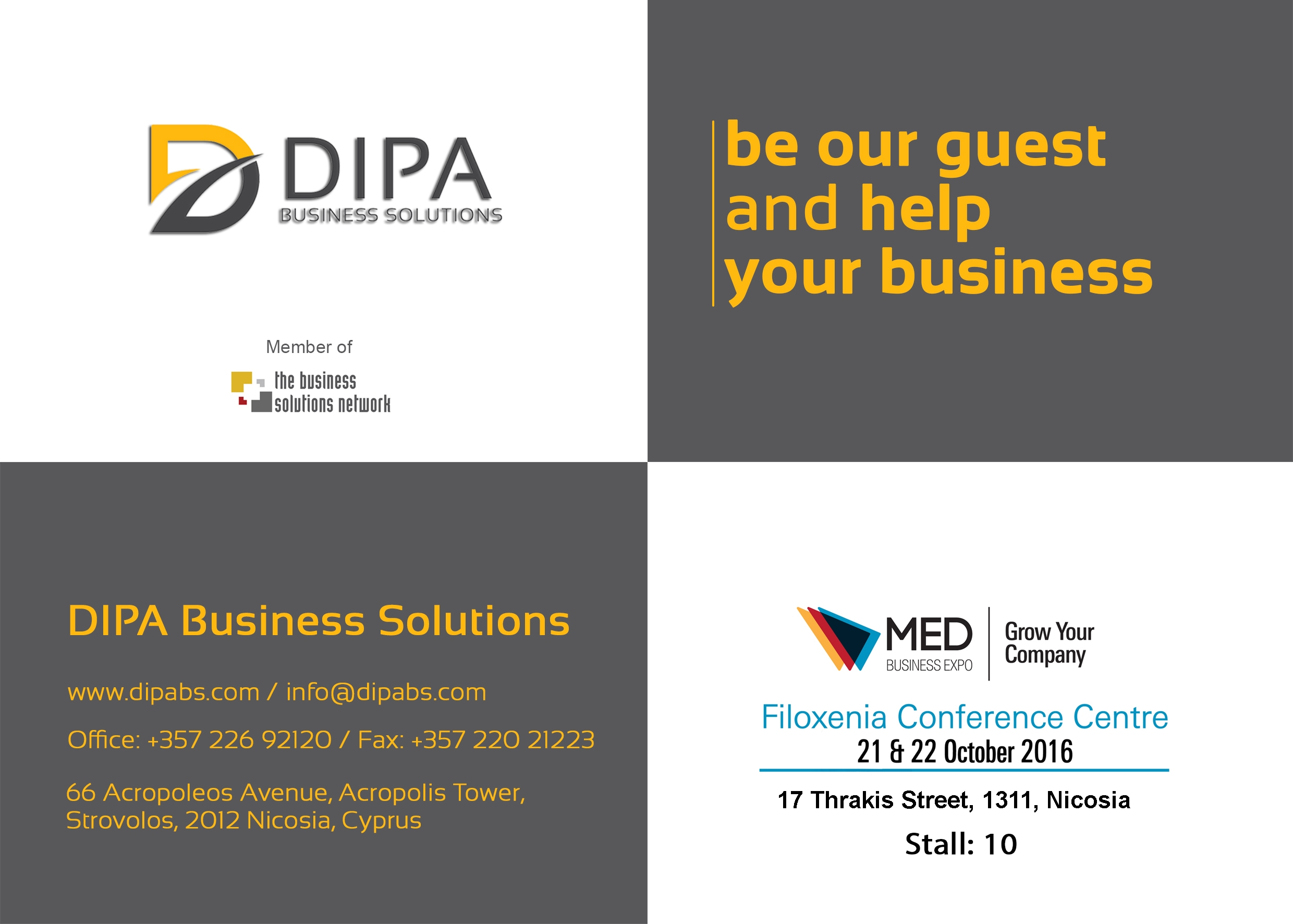Dipa business solutions participating on med business expo 2016 dipa business solutions ltd has the pleasure to invite you to attend the pioneering international exhibition conference med business expo stopboris Gallery